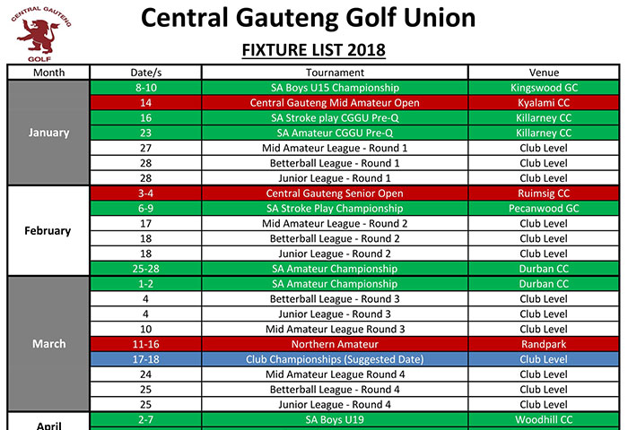 Central Gauteng Golf Union – Fixture 2018