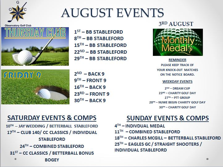 August Events Schedule